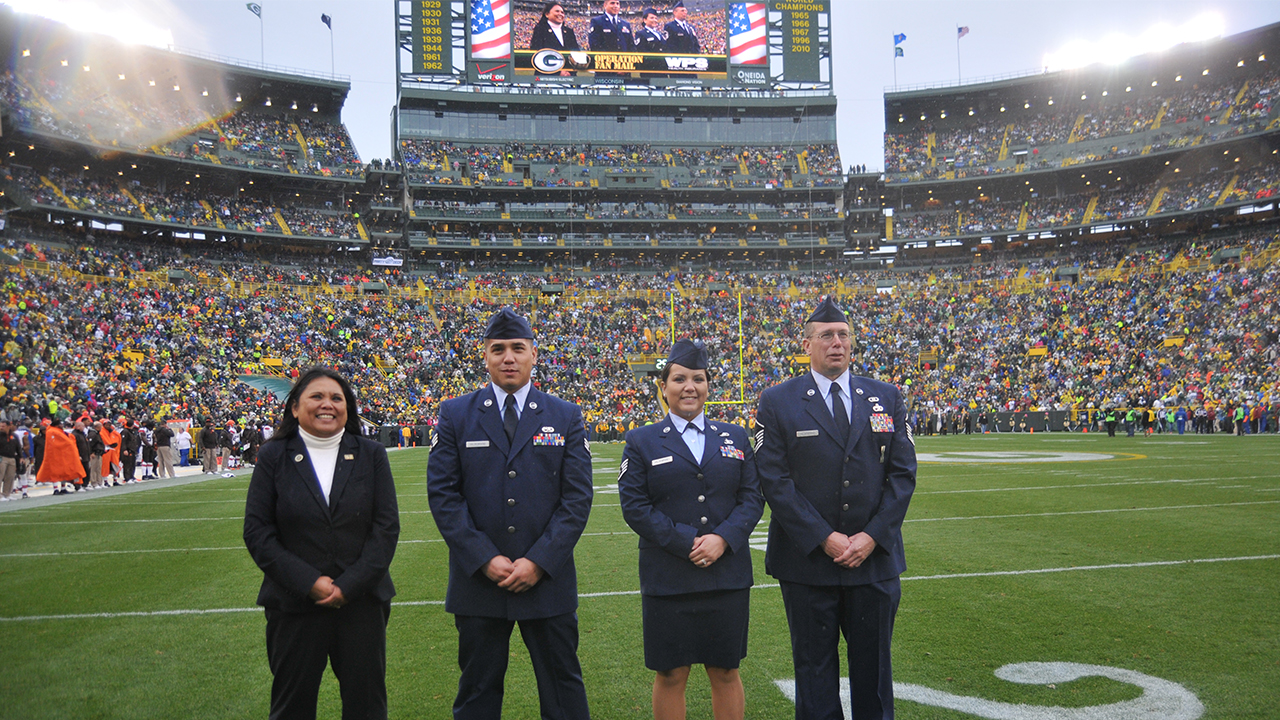 Operation Fan Mail honorees left to right: Julie Vale, Jared Hildebrand, Jenna Hildebrand, and Reed Hildebrand.